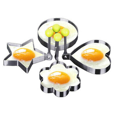 4 Stainless Steel Frying Pan Fried Egg Pancake Cooking Ring Mould Shaper Mold • 0.01£