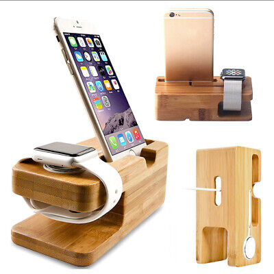 AU13.39 • Buy Bamboo Charging Dock Station Charger Holder Stand For Apple Watch And IPhone