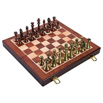 International Chess Set, Wooden Chess Board Metal Pieces Kit For Kids Adult • 65.10£