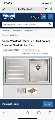Franke Winds 1.5 Bowl Kitchen Sink Left Hand Drainer With Accessories • 50£