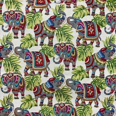 £9 • Buy Tapestry Fabric Indian Elephant Upholstery Furnishings Curtains 140cm Wide