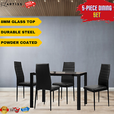 AU210.30 • Buy Artiss Dining Table And Chairs Set 8MM Glass Tables 4 Leather Seat Chair Black