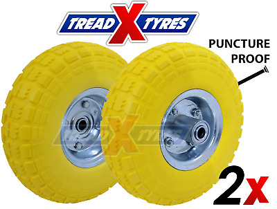 £23.50 • Buy 2x Solid Sack Truck 4.10/3.50-4 Barrow Trolley 10  Puncture Proof Wheels Tyres