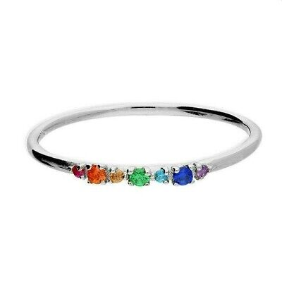 £12.95 • Buy Sterling Silver Rainbow Sapphire Band Ring - ALL SIZES AVAILABLE - 925 Silver