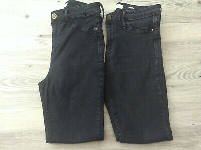 (y9) River Island Ladies Small Bundle Black Molly  Jeans Size Uk 12 R / S • 0.99£