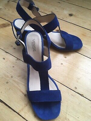Italian Designer Shoes - Cobalt Blue Sandals With Heels By Elvio Zanon. Size 37 • 24.99£