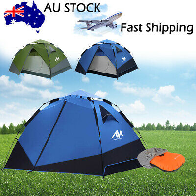 AU19.99 • Buy 3-4 Person Automatic Pop Up Waterproof Camping Hiking Tent+Inflatable Air Pillow