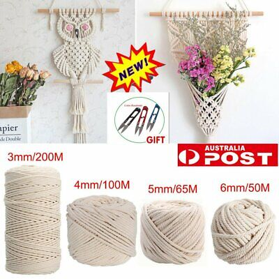 AU25.60 • Buy 3/4/5/6MM Macrame Rope Natural Cotton Twisted Cord Artisan Hand Craft 50-200M IW