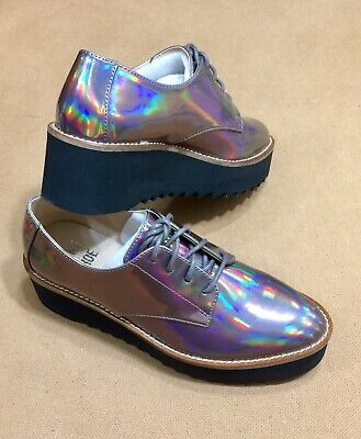 NWT Women's Sawtooth Platform Pewter Color Oxford Shoes Size 6 • 18.10£