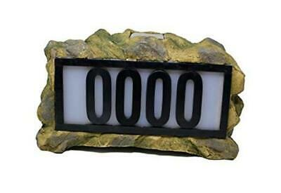 Solar Power Lighted House Numbers Address Sign - LED Illuminated Outdoor Rock • 52.46£