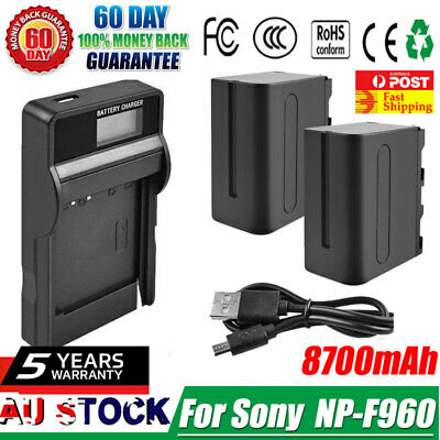 AU41.99 • Buy 2x 8700mAh NP-F960 Battery Pack + LCD Charger For Sony NP-F970 NP-F950 F960 F930