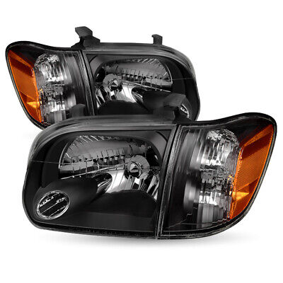 $121.66 • Buy For 2005-2006 Toyota Tundra 05-07 Sequoia Black Headlights Replacement Headlamps