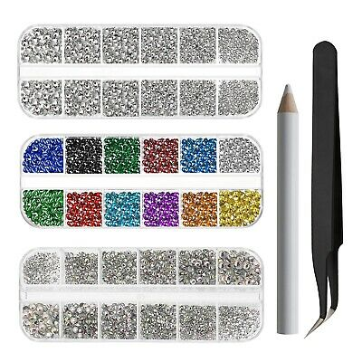 Mixed ABS Glass Hot Fix Rhinestones 9048pcs/Kit For Clothes Bags DIY Nail Art • 13.58£
