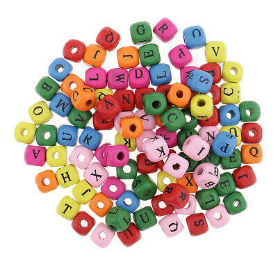 £4.60 • Buy 100 Pieces Wooden Alphabet Letters Cube Beads Jewelry Making 10mm Multicolor