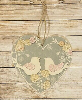 Shabby Chic Heart, Love, Decoration, Plaque Sign Birds, Wooden, Home, Gift • 3.50£