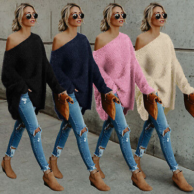 Womens Off The Shoulder Pullover Sweater Knit Jumper Long Sleeve Pullover Tops • 10.54£