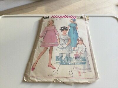 VINTAGE SEWING PATTERN Child 7156 Simplicity DRESS Bridesmaid Size Girl 8 • 3£