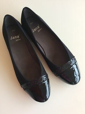 Jana Ladies Black Suede And Patented Leather Shoes Soft Flex Size 6.5 • 1.95£