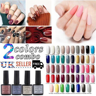 PHOERA® Classic Colours Gel Polish Set 2 Bottles Bundle Nail Varnish Salon Kit • 4.99£