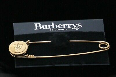 Signed Burberrys Of London Pin Brooch Gold Plated Kilt Safety Pin Burberry Logo  • 97.88£