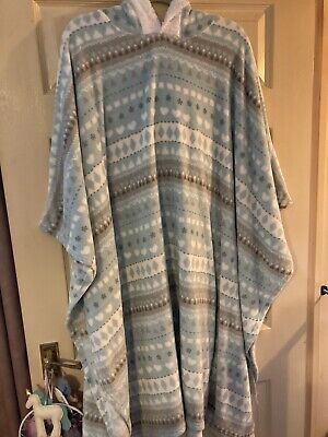 Ladies Hooded Fleece Kimono Kaftan Dressing Gown Snuggly Blanket Upto Plus Size • 18£