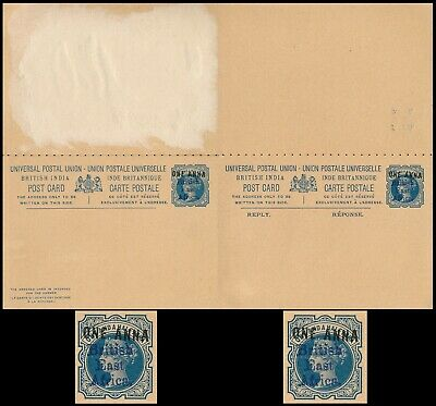 India British East Africa 1895, Overprinted Rare Stationery Card With Reply #z99 • 14.56£