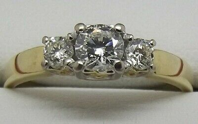 AU1194 • Buy Solid 18ct Yellow Natural Diamond Engagement/dress Size Q1/2 - Value $2816