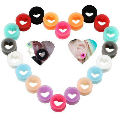 2Pcs Colorful Silicone Ear Gauges Double Flared Flesh Tunnels Jewelry Set , • 2.54£