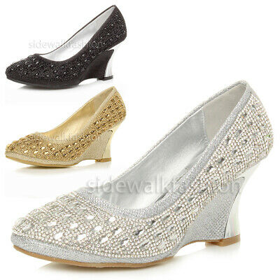 Womens Ladies Mid Heel Metal Curved Wedge Evening Diamante Court Shoes Size • 11.99£