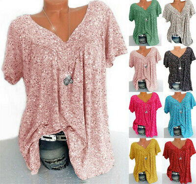 Summer Womens V-Neck Floral Tops Tee T Shirt Ladies Beach Loose Blouse 6-24 • 5.79£