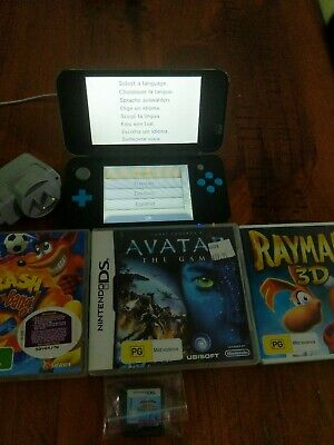 AU100 • Buy Nintendo 2DS XL Blue & Black Console With Charger + 4 Games + SD Card