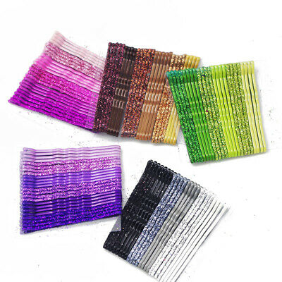 24pcs 5cm Hair Clips Wave Flat Curved Hairpin Girl's Metal Barrette Hair Grips • 4.45£