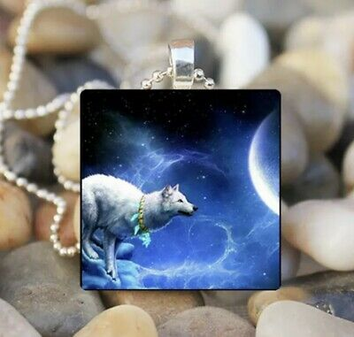 Stunning Native American Wolf 💙 Cabochon Necklace 💙 Wearable Art • 0.99£