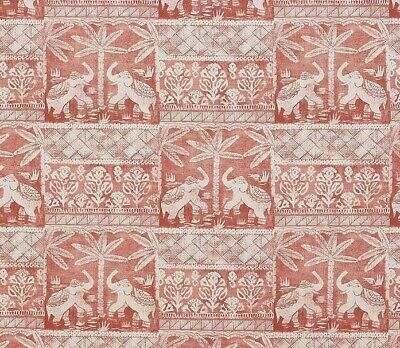 JANE CHURCHILL CURTAIN FABRIC  Elephant Parade  2.5 METRES PALE RED LINEN BLEND • 77.99£