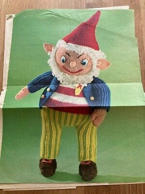 Rare 1950s Vintage Knitting Pattern For Noddy's Friend 'Big Ears The Brownie' • 2.50£