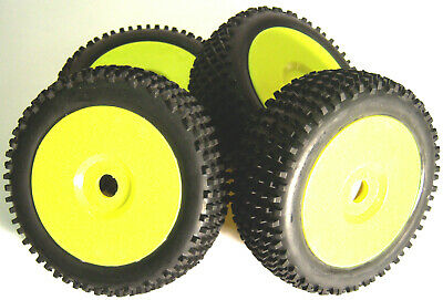 B7034Y 1/8 Scale Off Road Wheels And Tyres RC Nitro Buggy Yellow X 4 • 22.98£
