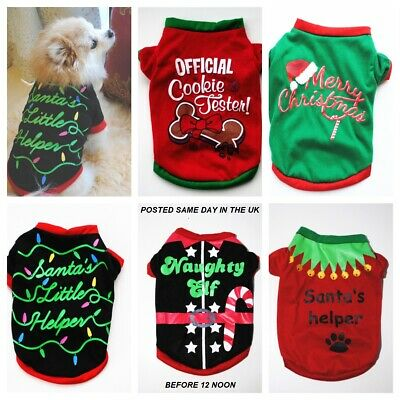 £4.99 • Buy Small Bread Pet Puppy Dog Christmas Santa Cotton T-shirt Jumper Jacket Outfit