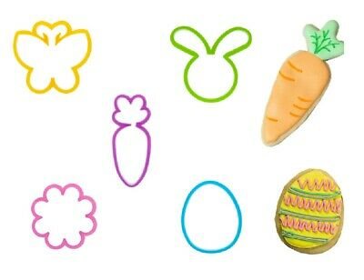 Set Of 5 Easter Cookie Cutters For Biscuit Pastry Dough Bunny Egg Flower Carrot • 3.95£