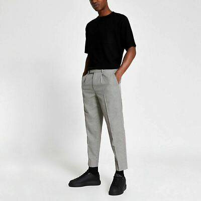 £7 • Buy River Island Mens Brown Dogtooth Check Pleated Trousers