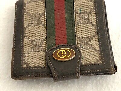 $9.38 • Buy Vintage GUCCI Bi-fold Wallet Coin Purse Leather Canvas Double G Pattern