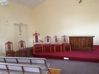 AU1000 • Buy Antique AUSTRALIAN Gothic Style Church Chairs And Communion Cupboard/table