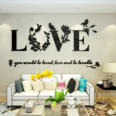 Leaf LOVE Wall Art Quotes Vinyl Wall Sticker, DIY Home Wall Decal Bedroom SALE • 4.26£