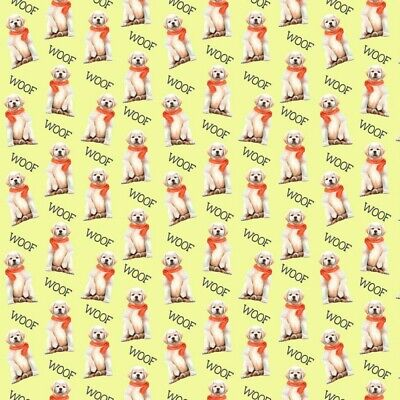 100% Cotton Digital Fabric Oh Sew Golden Labrador Retriever Dog Woof 140cm Wide • 11£