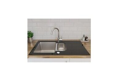 Christianna Black Stainless Steel & Toughened Glass 1.5 Bowl Sink & Drainer KD • 49.95£