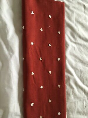 Red Fabric Remnant With Cream Embroidered Hearts • 3.90£