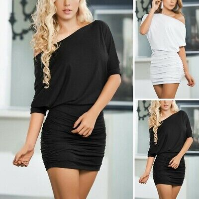 Womens Dresses Oversize Sexy Pure Color Bandage Off Shoulder Tight Knitting • 9.71£