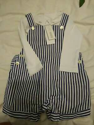 Jacadi Blue And White Stripe Romper Outfit With Shirt 12m NWT In Original Box  • 5£