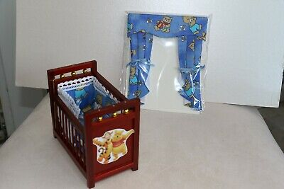 Ooak 12th Scale Winnie Poo Dropside Cot  In Teddy Fabric With Matching Curtains • 7.99£