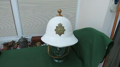Royal Marines White Ceremonial Pith Helmet With Liner & Fittings   • 125£
