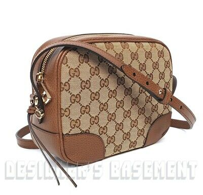 AU932.51 • Buy Authentic GUCCI Bree Guccissima GG Leather Canvas Crossbody Shoulder Bag 449413